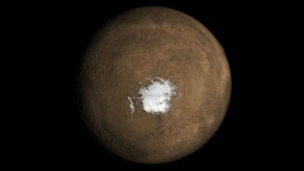 El polo sur marciano. Un nuevo estudio sostiene que debe haber una fuente subterránea de calor para que exista agua líquida debajo de la capa de hielo polar