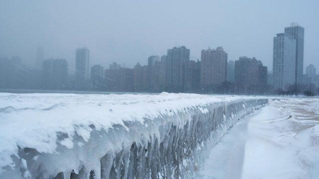 La ciudad de Chicago padece temperaturas gélidas debido a la presencia del vórtice polar