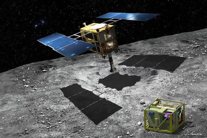 Representación artística de la sonda Hayabusa 2 aterrizando sobre el asteroide Ryugu