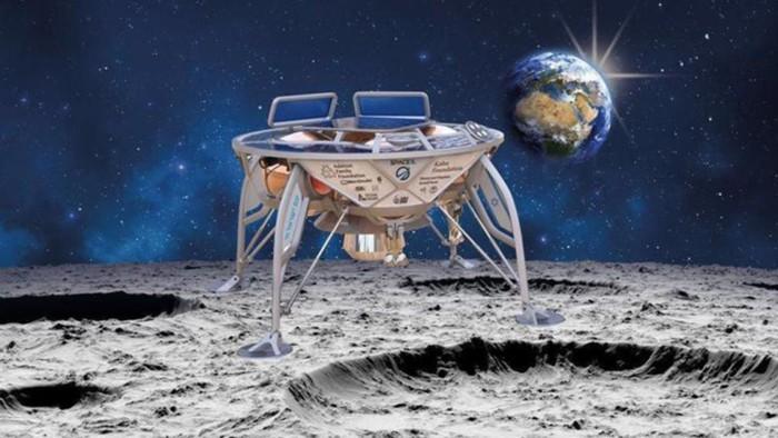 Una impresión artística del módulo de aterrizaje lunar de SpaceIL, Beresheet, aterrizando en la Luna