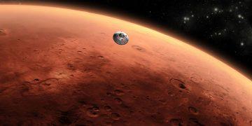 Representación artística de la nave que transportaba el rover Curiosity aproximándose a Marte