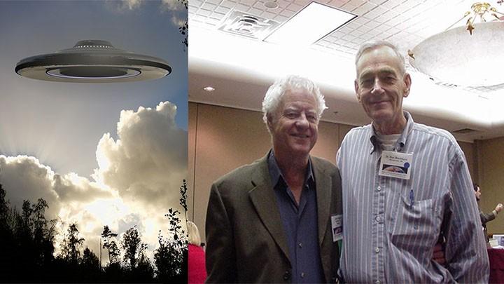 Izquierda: ilustración de un OVNI. Derecha: Jerry Pippin y Ronald Blackburn