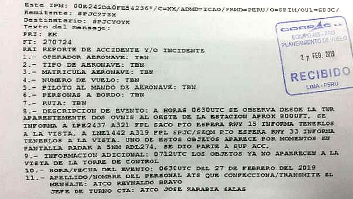 Reporte oficial de Corpac informa que dos OVNIs fueron vistos cerca del aeropuerto Jorge Chávez el 27 de febrero.