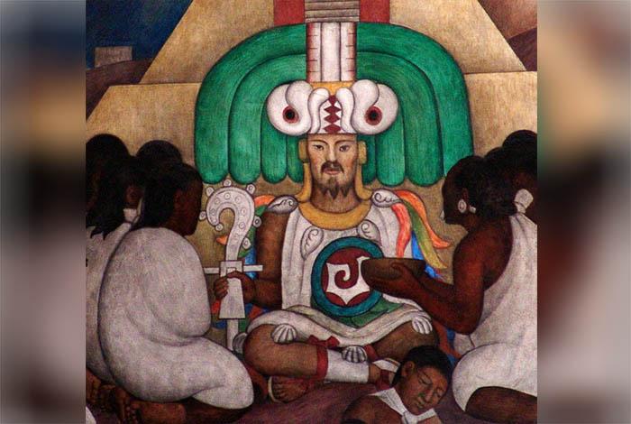 Cē Ācatl Tōpīltzin Quetzalcóatl, representado en el mural de Diego Rivera en el Palacio Nacional de México