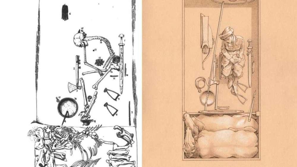 Plano y dibujo de la tumba de una guerrera vikinga hallada en Suecia (no es la misma de la reconstrucción facial)