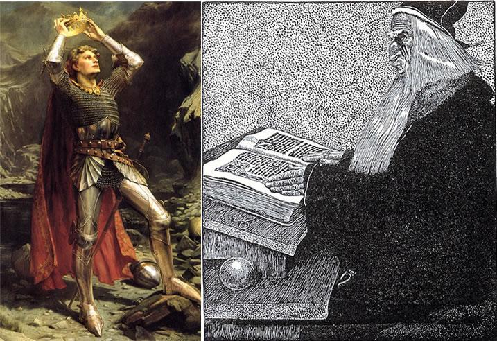 Izquierda: rey Arturo. Derecha: mago Merlín