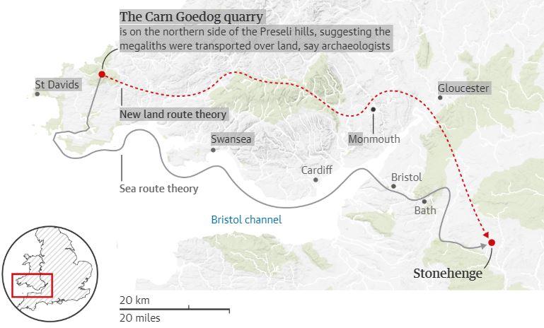 La ruta por la que habrían sido transportadas (por tierra) las piedras de Stonehenge