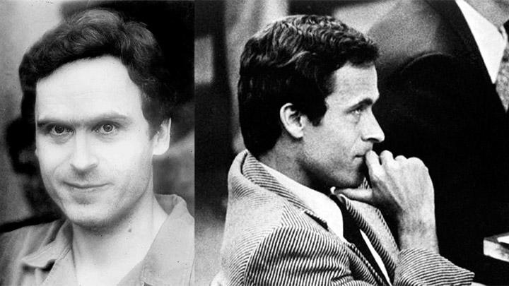 Izquierda: Ted Bundy en custodia, 1978. Derecha: Ted Bundy en la corte de justicia, 1979