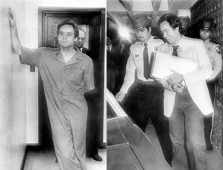 Izquierda: Bundy en custodia, 1978. Derecha: Bundy saliendo de la corte de justicia del condado Leon, Florida, 1979