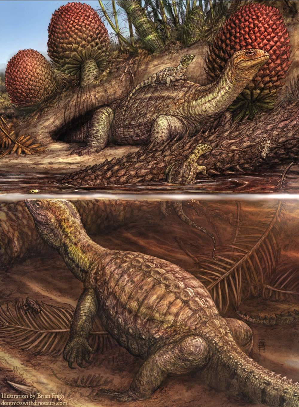 Ilustración de la tortuga de tallo triásico