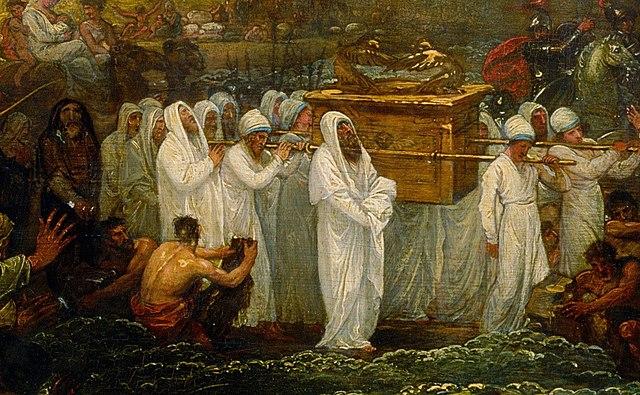 Detalle de la pintura «Josué cruzando el río Jordán con el Arca de la Alianza», de 1800
