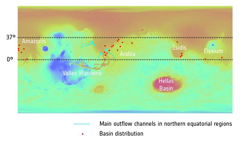 Distribución de las antiguas cuencas fluviales en Marte