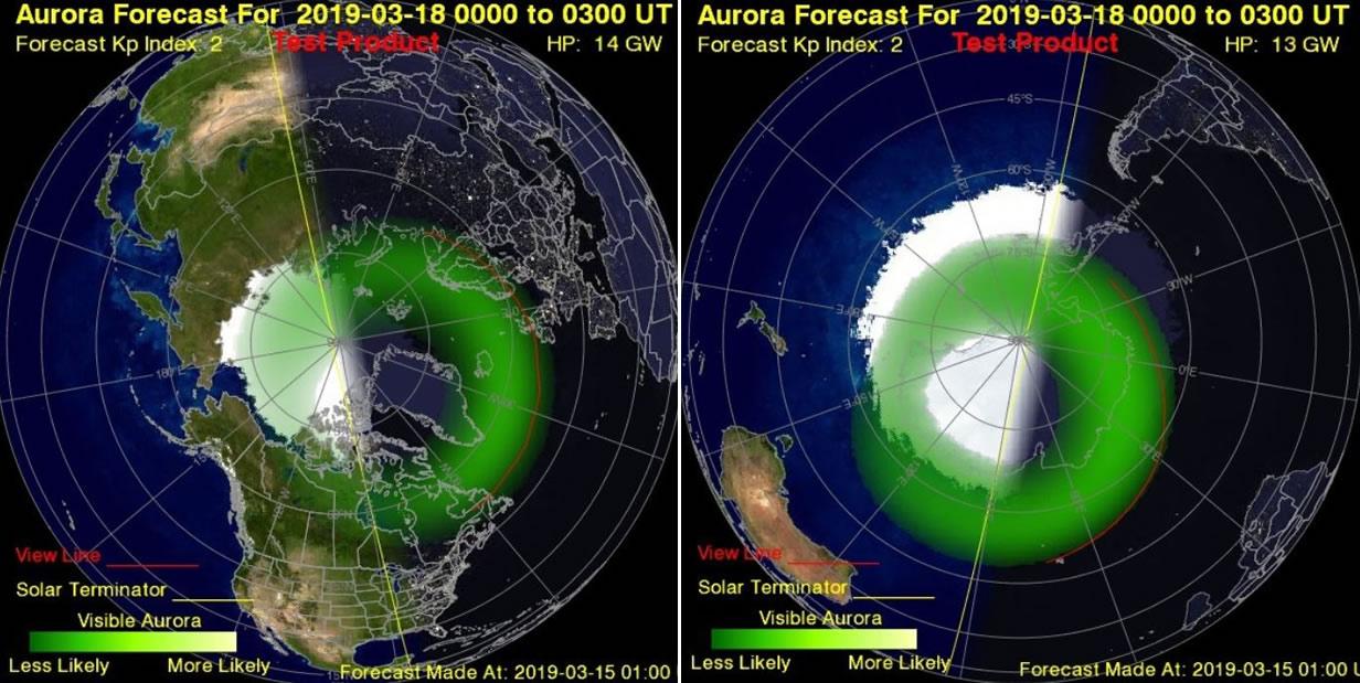 Predicción de auroras en polo norte y sur