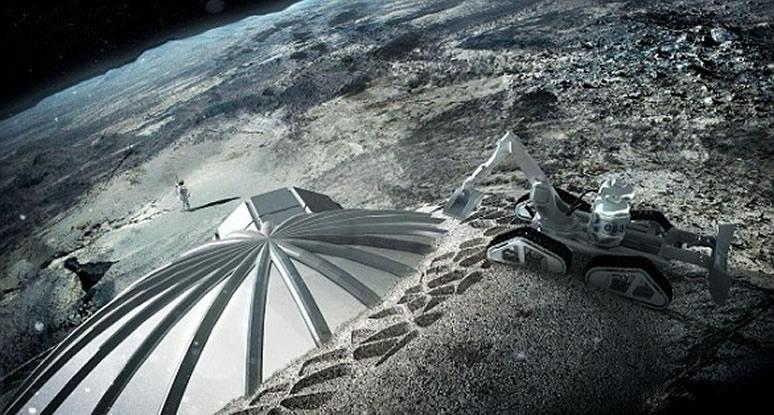 Representación artística de una posible base lunar