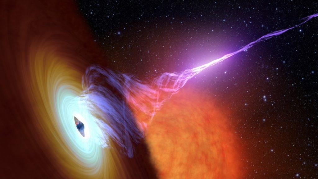 Representación artística de un agujero negro con un disco de acreción, y un chorro de gas caliente, llamado plasma