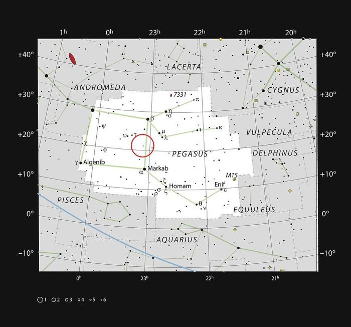 El planeta, conocido como HR8799e, se descubrió por primera vez en 2010, orbitando una estrella en la constelación de Pegaso (en la imagen), pero un nuevo método ha permitido a los astrónomos estudiarlo con mayor detalle