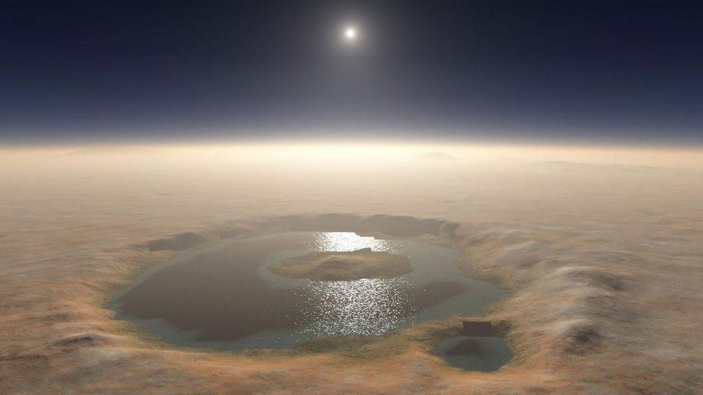 Representación artística de un sistema de agua en Marte