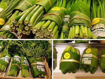 Hojas de plátano en lugar de bolsas de plástico, la iniciativa de un supermercado de Tailandia