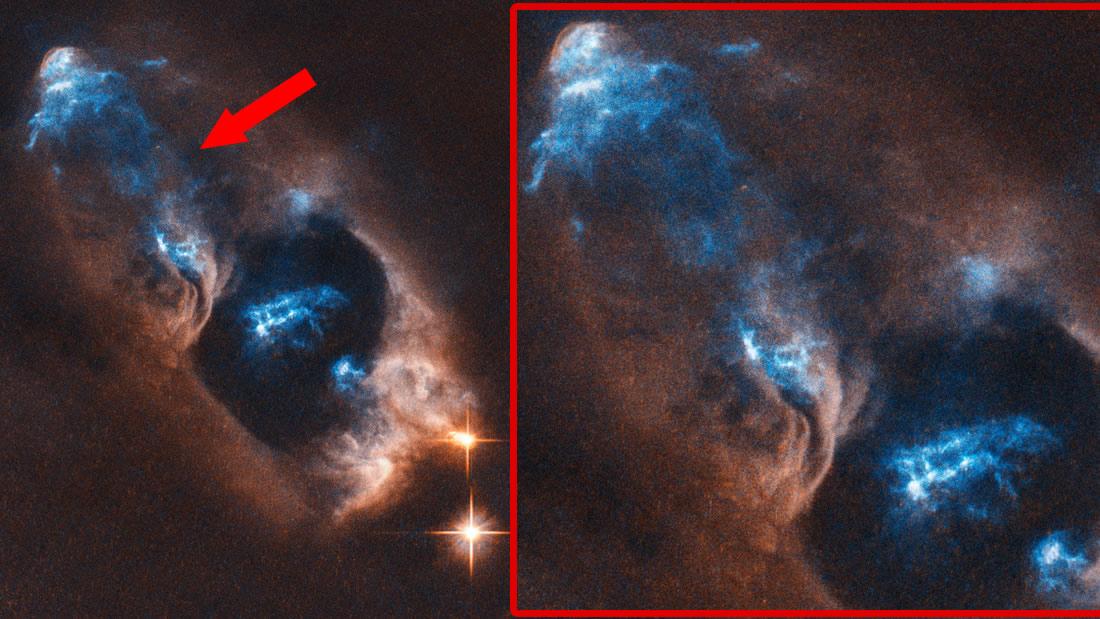 Primer plano de los objetos observados «escapando» de una estrella