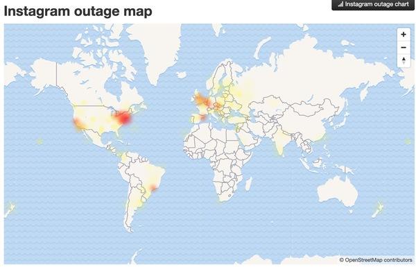 Aunque los problemas no afectaron a todos, sí se sintieron en muchas partes. Aquí está el mapa de los problemas registrados en Instagram