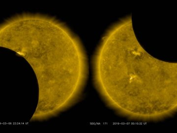 La Luna pasa delante del Sol, se detiene y «retrocede», eclipsando nuestra estrella dos veces en pocas horas
