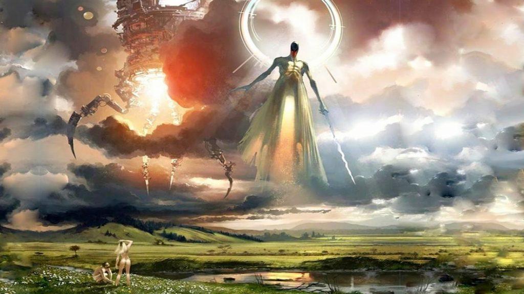 Esferas gigantes que brilhavam como o ouro mais brilhante vinham do céu, eram tão grandes quanto as montanhas e mais ...