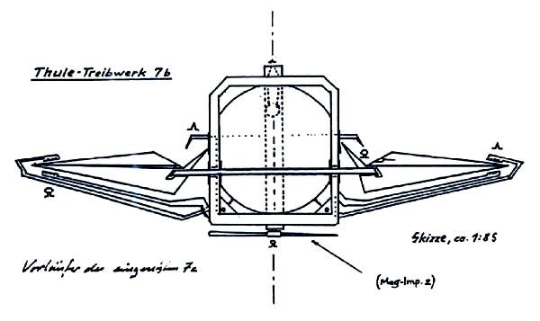 Supuesto diseño de una máquina voladora relacionada con la ingeniería de la sociedad Thule