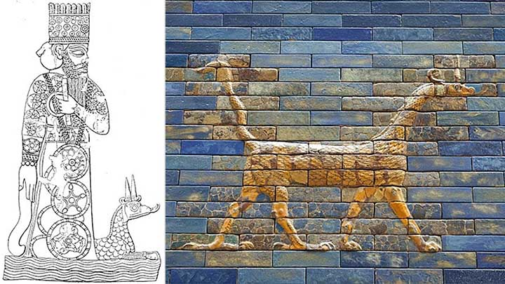 Izquierda: Marduk con su dragón-serpiente. Derecha: representación de un Mušḫuššu