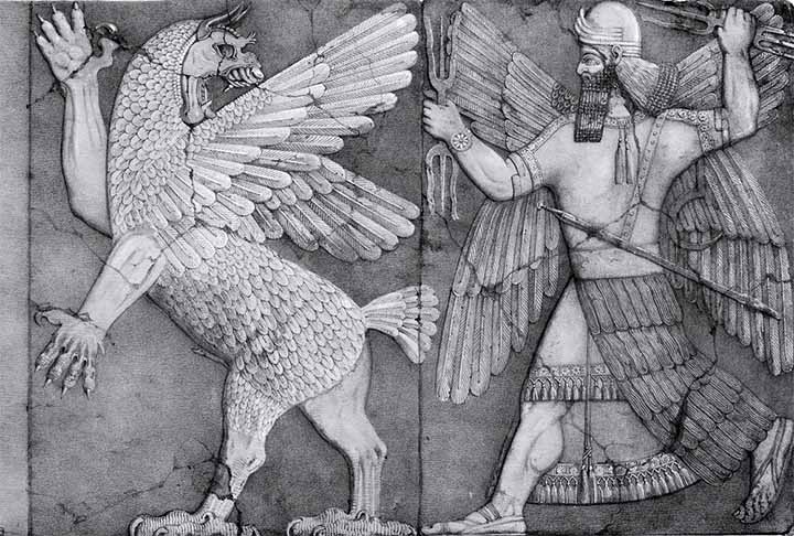 Imagen relacionada a la batalla de Marduk (a la derecha) contra Tiamat, la diosa dragón (izquierda).