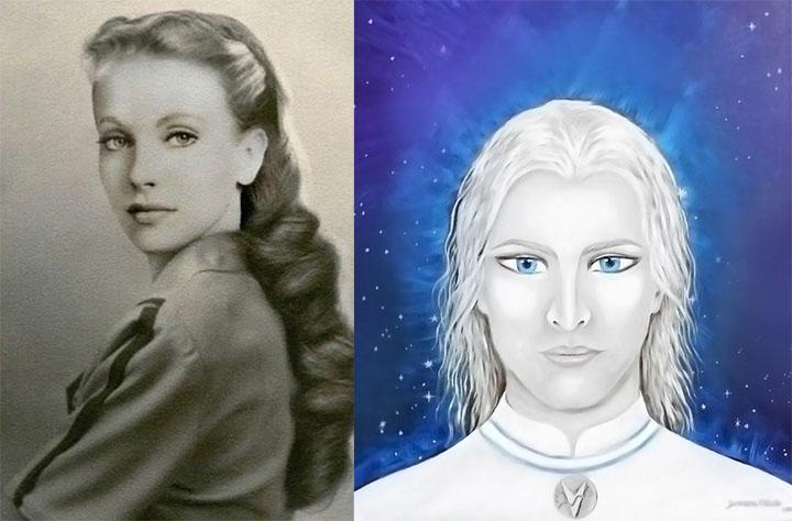 Izquierda: María Orsic. Derecha: ilustración de un alienígena nórdico, similar a los hipotéticos arios