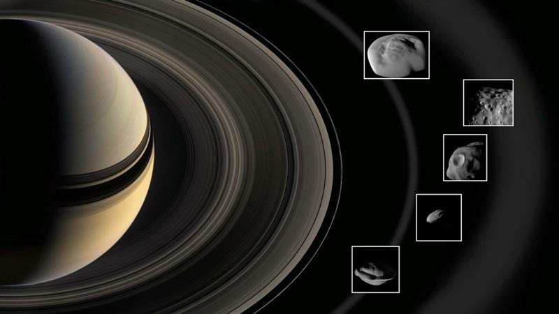 Este imagen muestra las minilunas poresentes entre los anillos de Saturno