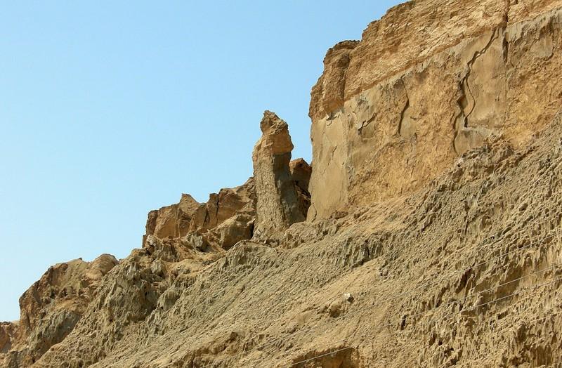 Monte Sodoma, Israel, mostrando el pilar llamado «Esposa de Lot»