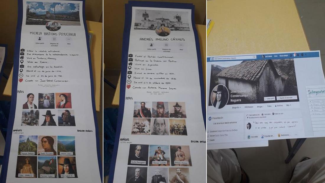 Algunos perfiles de Facebook de héroes y personajes de la historia de Perú. Entre ellos: Micaela Bastidas, Andrés Avelino Cáceres y José Gabriel Condorcanqui «Túpac Amaru II»