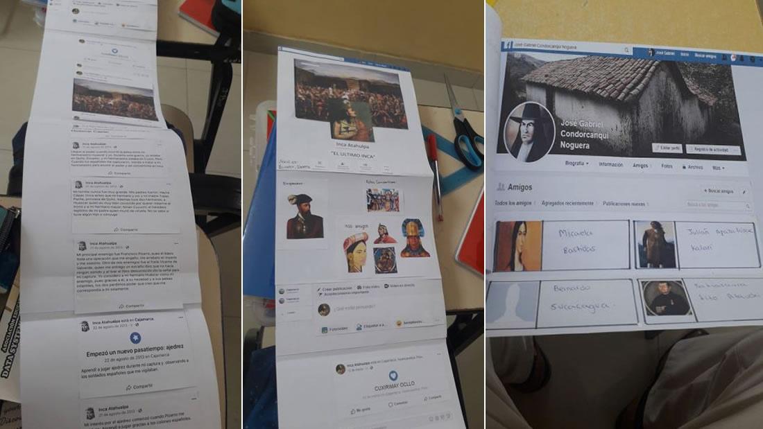 Perfil de Facebook de Atahualpa junto a sus actualizaciones de estado (izquierda) y el perfil de Túpac Amaru II (derecha)