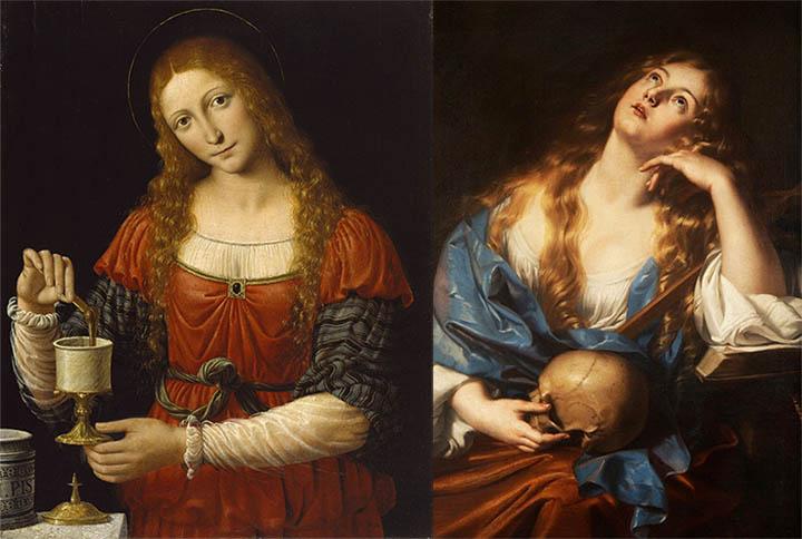 Pinturas de María Magdalena. Izquierda: sosteniendo un caliz misterioso, pintura de Andrea Solari. Derecha: María Magdalena penitente, pintura de Nicolaas Regnier
