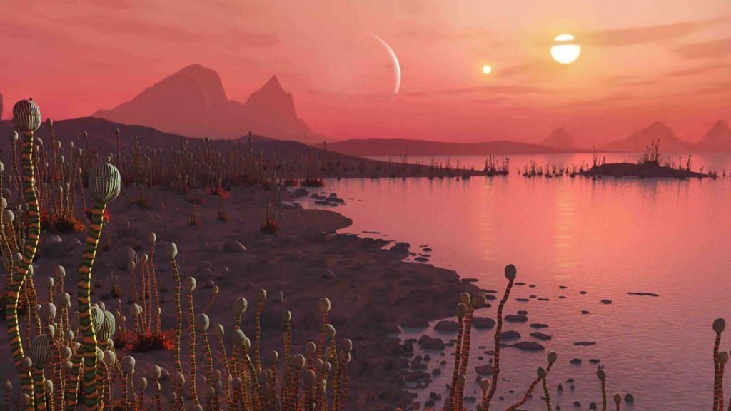 Representación artística de la vida en un planeta en órbita alrededor de un sistema estelar binario, visible como dos soles en el cielo