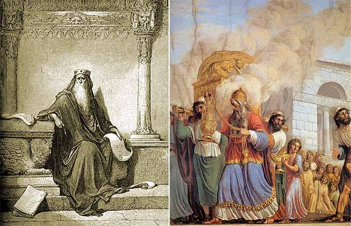 Izquierda: Salomón escribiendo Proverbios. Derecha: traslado del Arca de la Alianza
