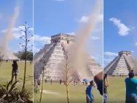 Un tornado sorprende a turistas en Chichén Itzá en pleno equinoccio de primavera