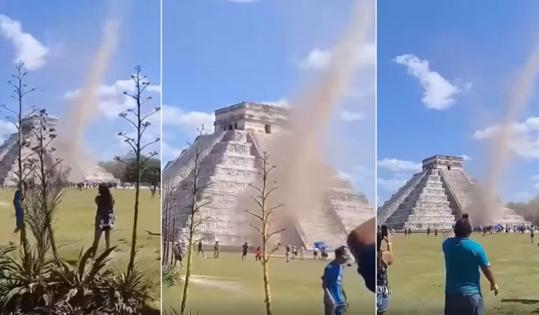 Un tornado sorprende a turistas en Chichén Itzá en pleno equinoccio de primavera (Vídeo)