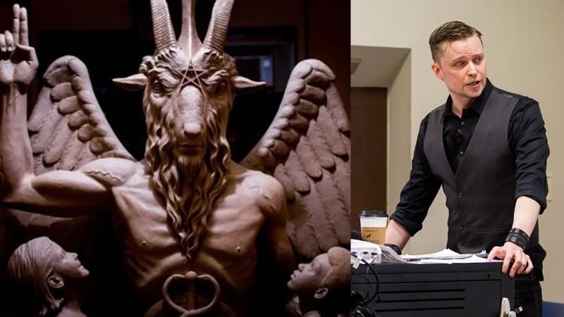 Izquierda: Estatua de Baphomet. Derecha: El cofundador de Satanic Temple, Lucien Greaves