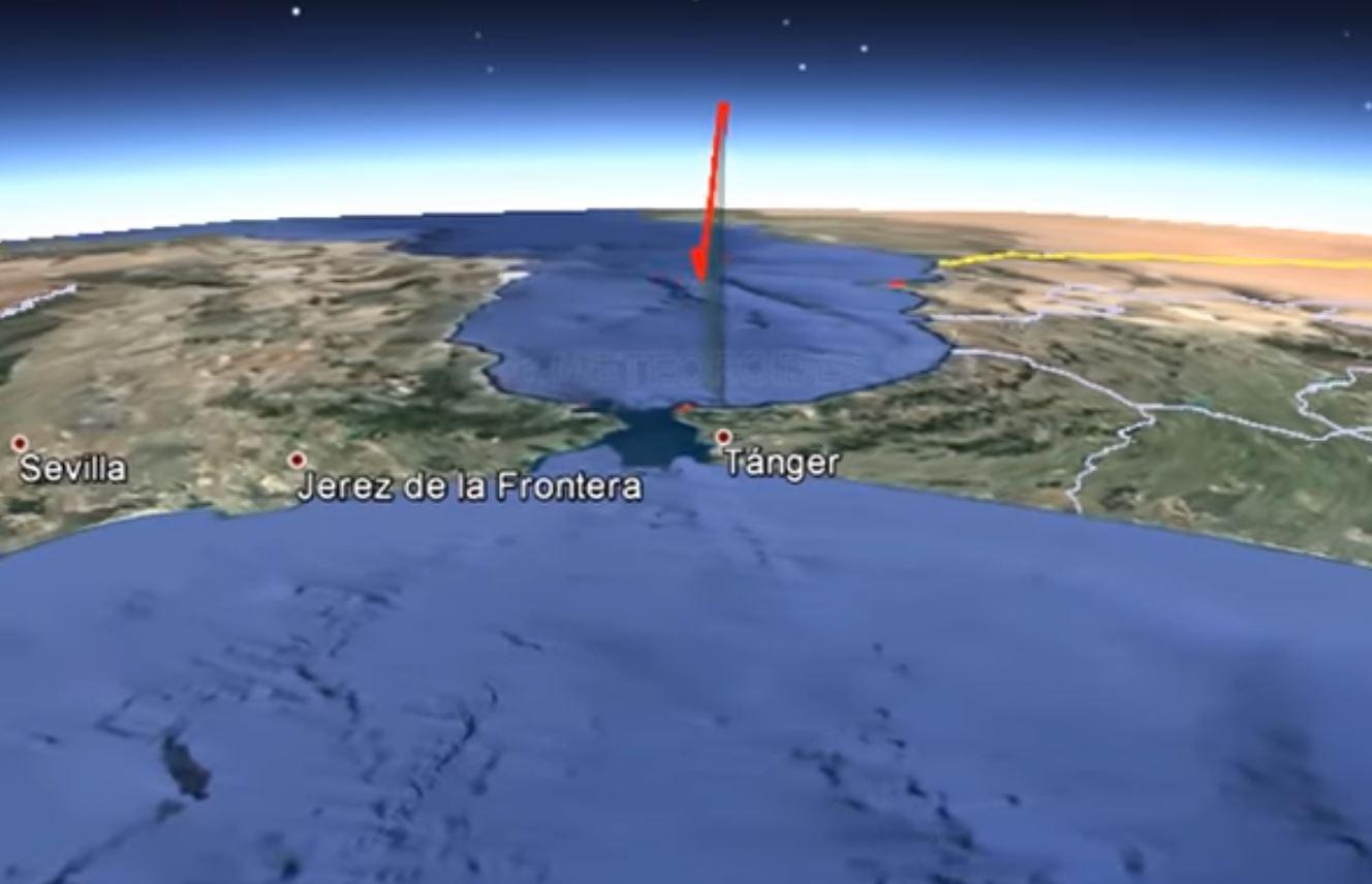 Ubicación del paso del bólido sobre el Mar Mediterráneo