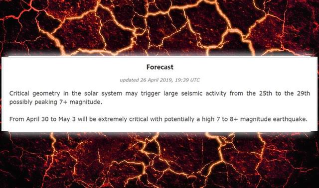 Ditrianum ha advertido que un terremoto de magnitud 7 a 8 y hasta más podría ocurrir entre los días 30 de abril al 3 de mayo