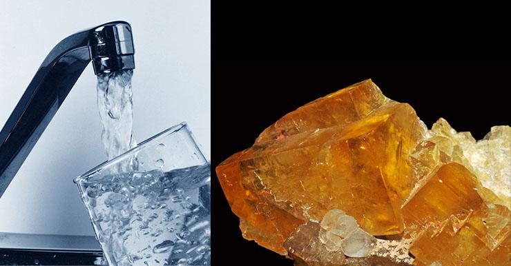 Izquierda: aguda del grifo. Derecha: cristal de fluorita, usada como fuente de flúor