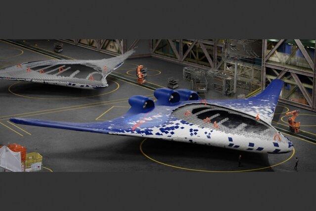 Representación artística muestra aeronaves de cuerpo de ala integradas, habilitadas por el nuevo método de construcción ensamblado por un grupo de robots especializados, que se muestran en naranja
