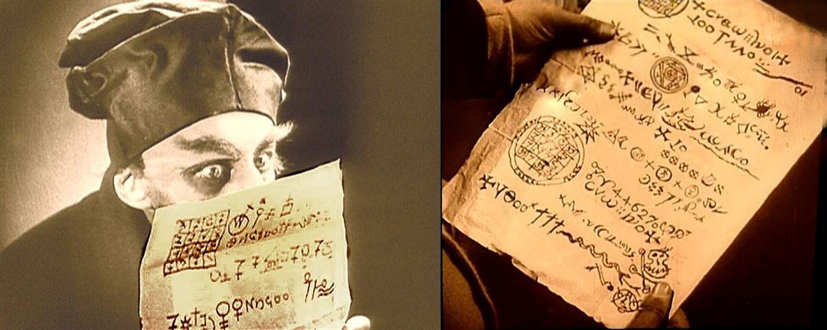 Escena ocultista de Nosferatu, evidenciando la presencia, de enigmáticos símbolos
