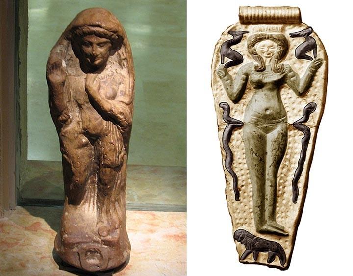 Izquierda: estatuilla de la diosa Tanit, también asociada a Asherah. Derecha: medalla colgante de Ugarit, con la figura y símbolos de la diosa