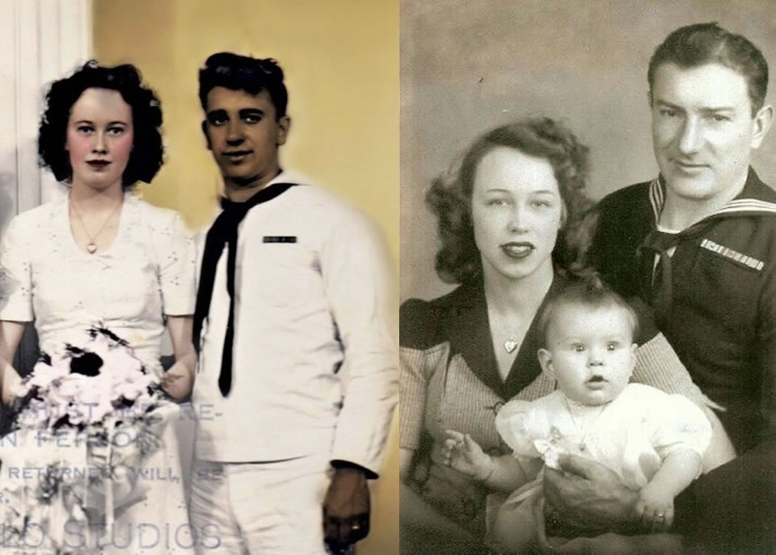 Ed y Lorraine Warren en su matrimonio (izquierda). Ed y Lorraine Warren junto a su hija Judy (derecha)
