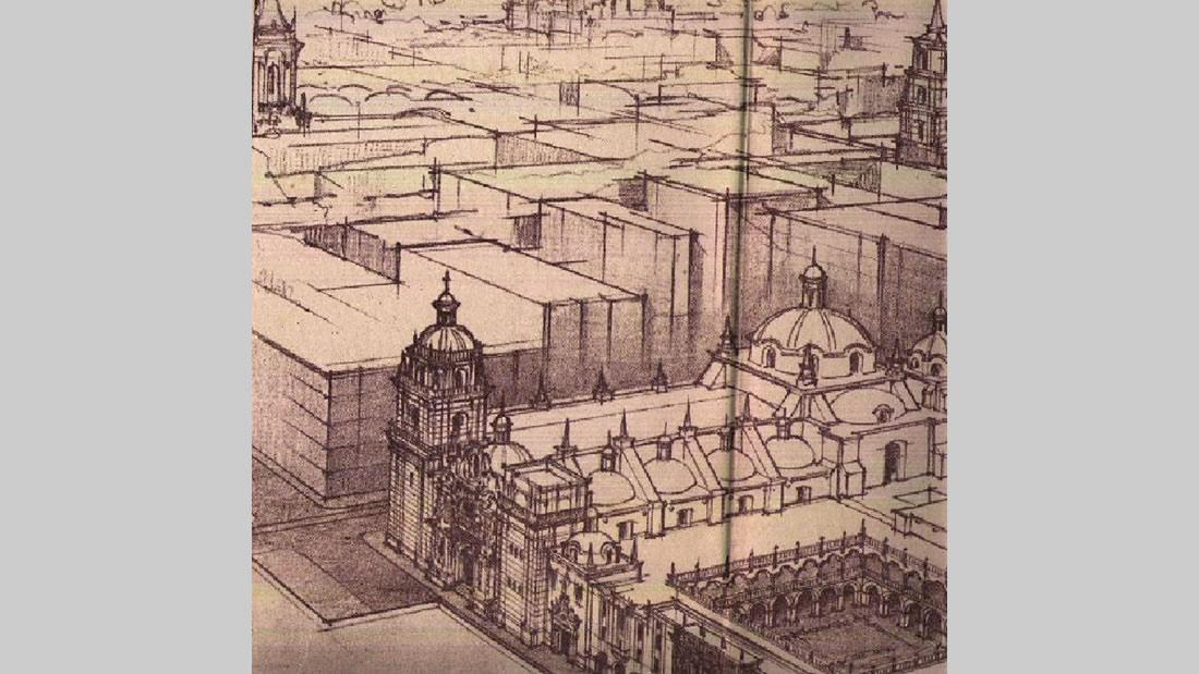 Grabado del Convento de La Encarnación, en la antigua calle Cueva