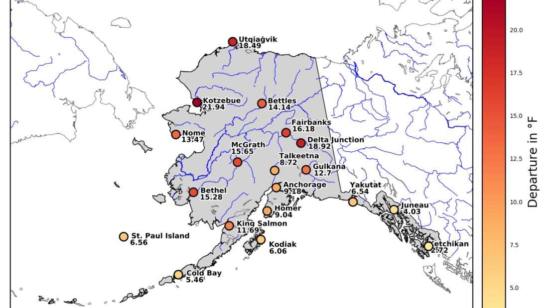 Toda Alaska ha alcanzado temperaturas por encima de lo normal en marzo, pero la mitad norte estaba en una escala completamente diferente