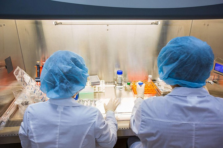 Equipo internacional ruso-coreano trabajando en un laboratorio en Yakutia sobre extracción de células
